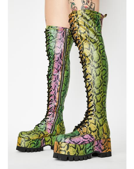 Neon Venom Thigh High Boots