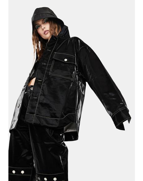 Rebel Faux Leather Shirt Jacket