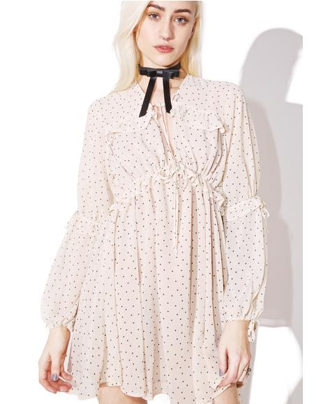 Creme Dot Truffles A-Line Dress