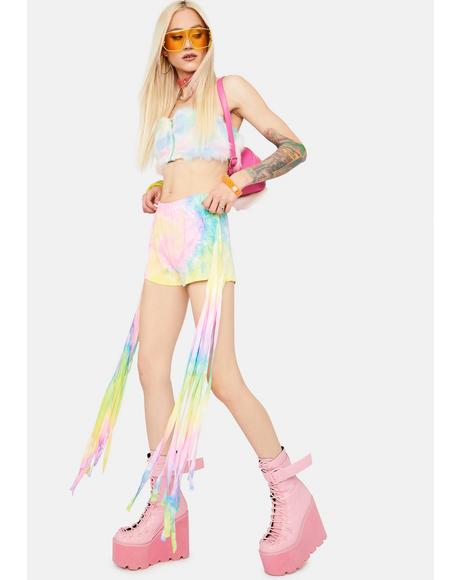 Groove To The Beat Tie Dye Fringe Shorts