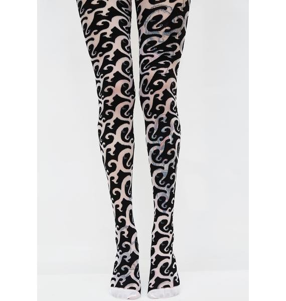 Down For Em' Printed Tights