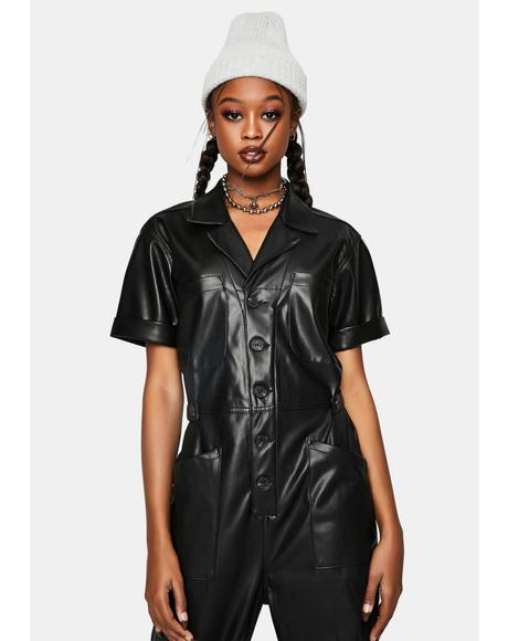 Grover Faux Leather Jumpsuit