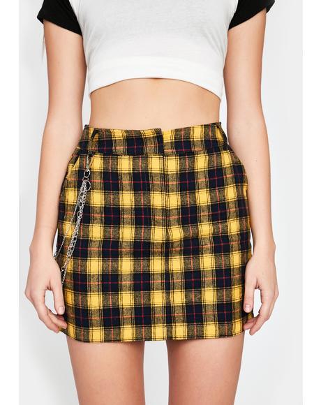 Caution I Know Places Plaid Skirt