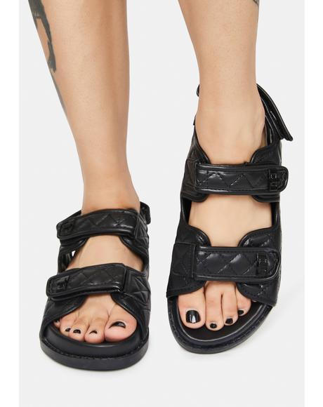 Noir Carmen Quilted Flat Sandals