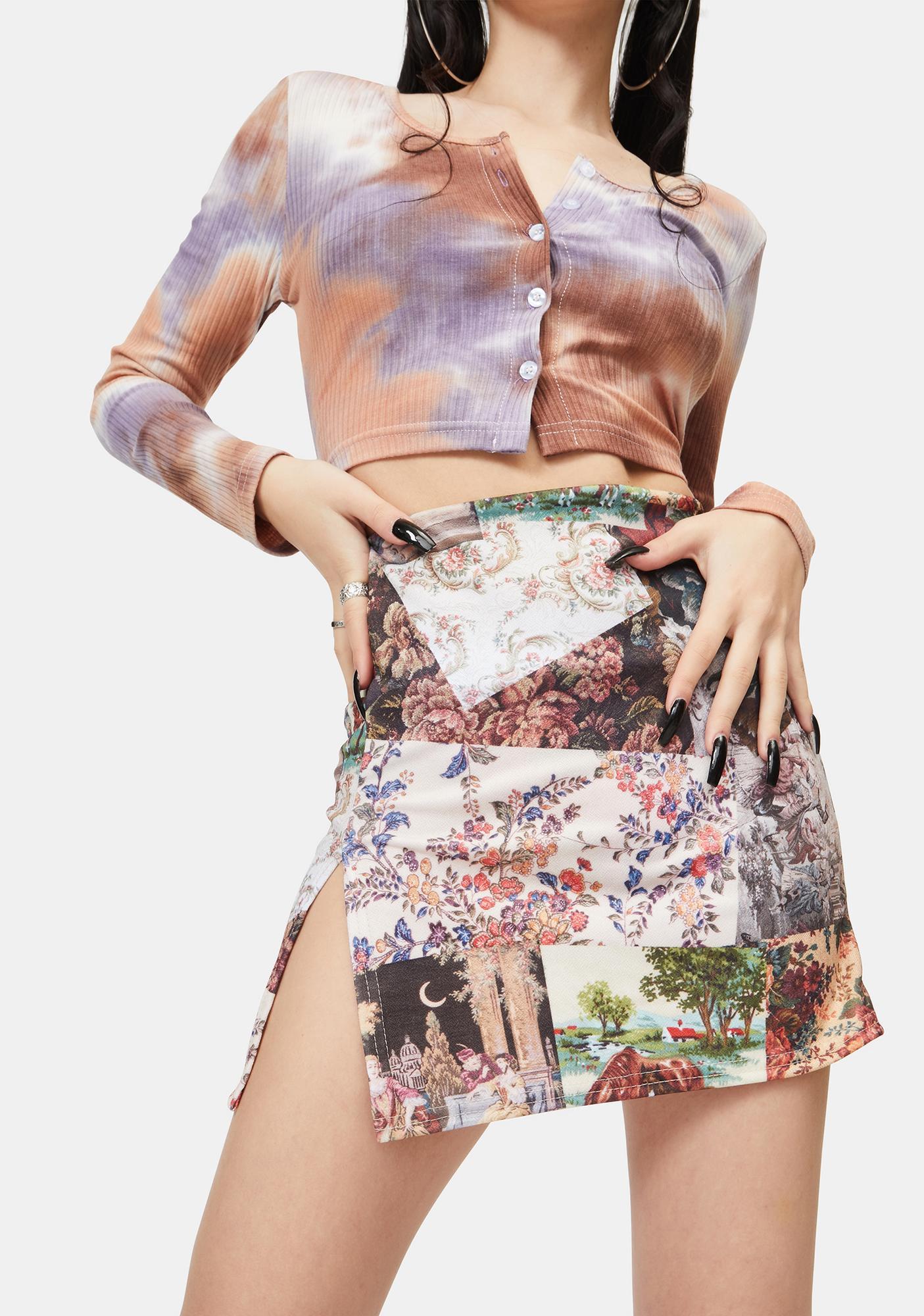 NEW GIRL ORDER Patchwork Side Split Mini Skirt