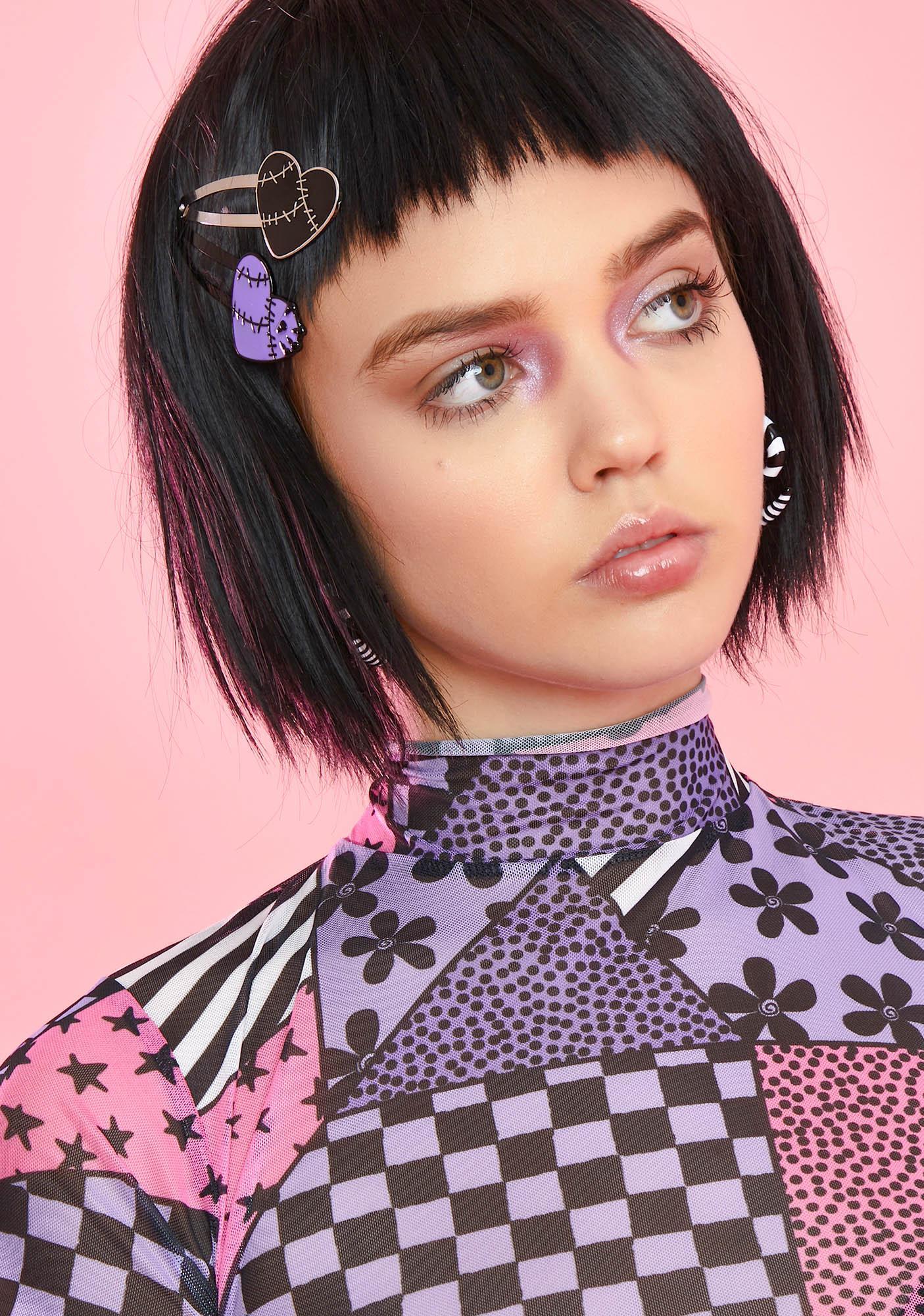 Patchwork Hearts Hair Clip Set