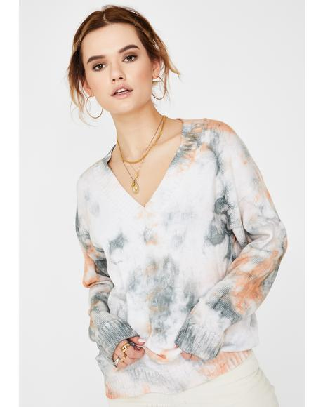 Rust Tie Dye Oversized Sweater