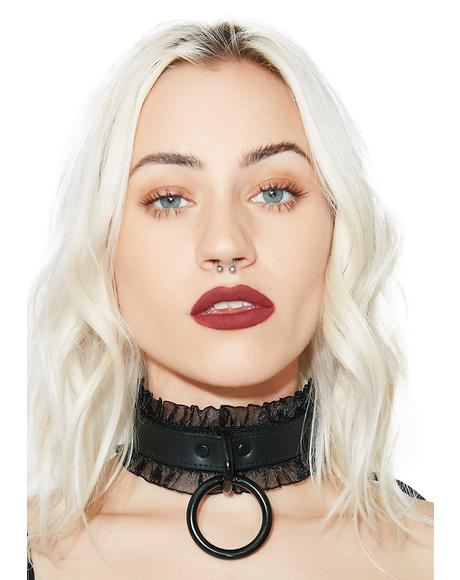 Dark Thrills Ruffle O-Ring Choker