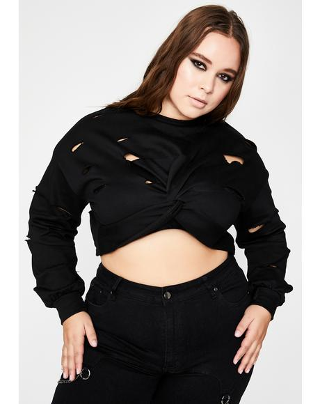 Total Sinister Riot Antics Crop Sweater