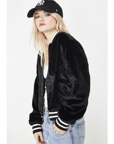 Bad Bish Zone Faux Fur Bomber