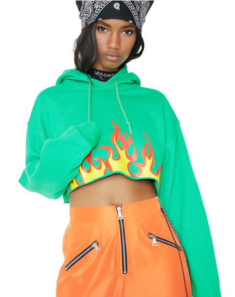 Lima Flaming Rose Crop Hoodie