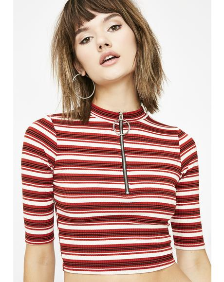 Cherry Nobody Compares Striped Top