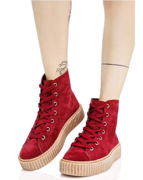 Bordeaux Iyla Hi Top Creeper Sneakers