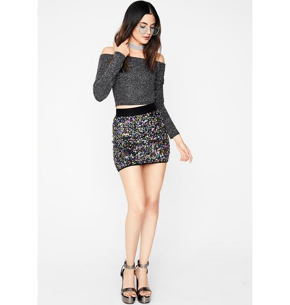 Rainbow Code Sequin Skirt