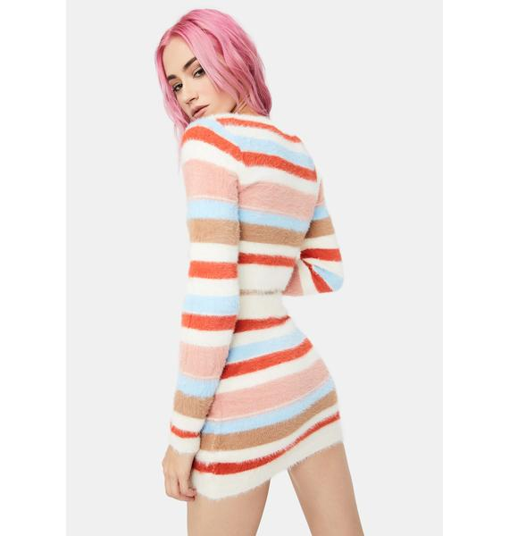 Get The Fuzz Out Striped Knit Skirt Set