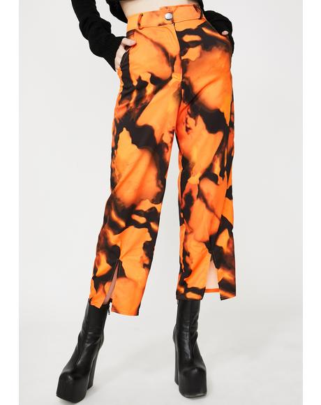Front Slit Tie Dye Crop Trousers