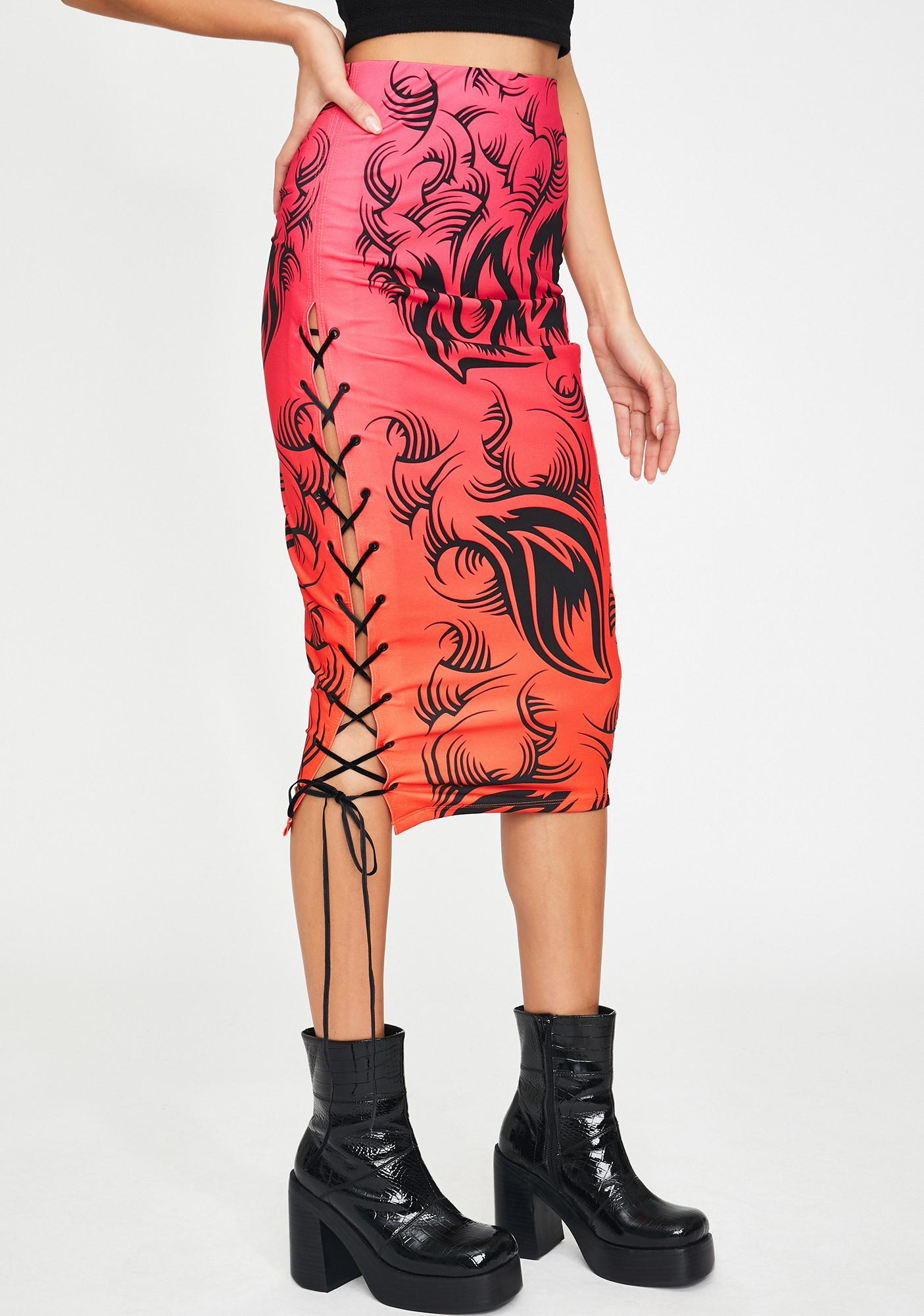 Jaded London Ombre Tribal Print Lace-Up Midi Skirt