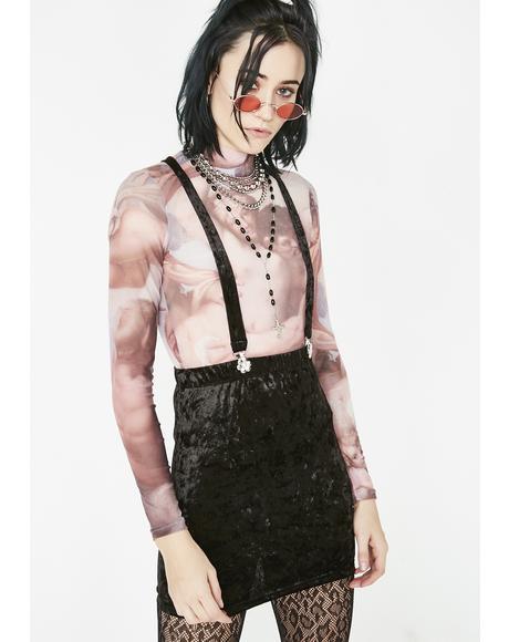 Crushed Hearts Suspender Skirt