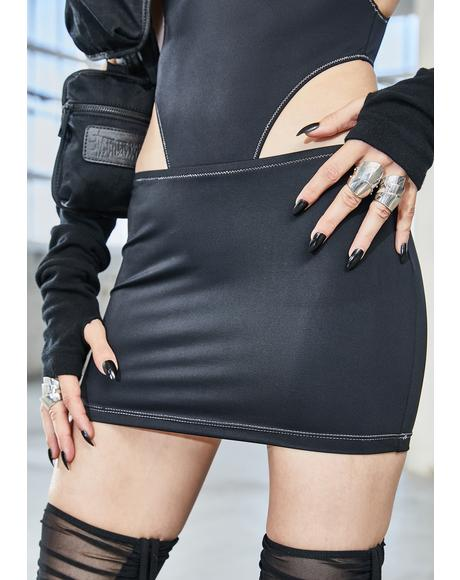 Bassline Contrast Stitch Mini Skirt