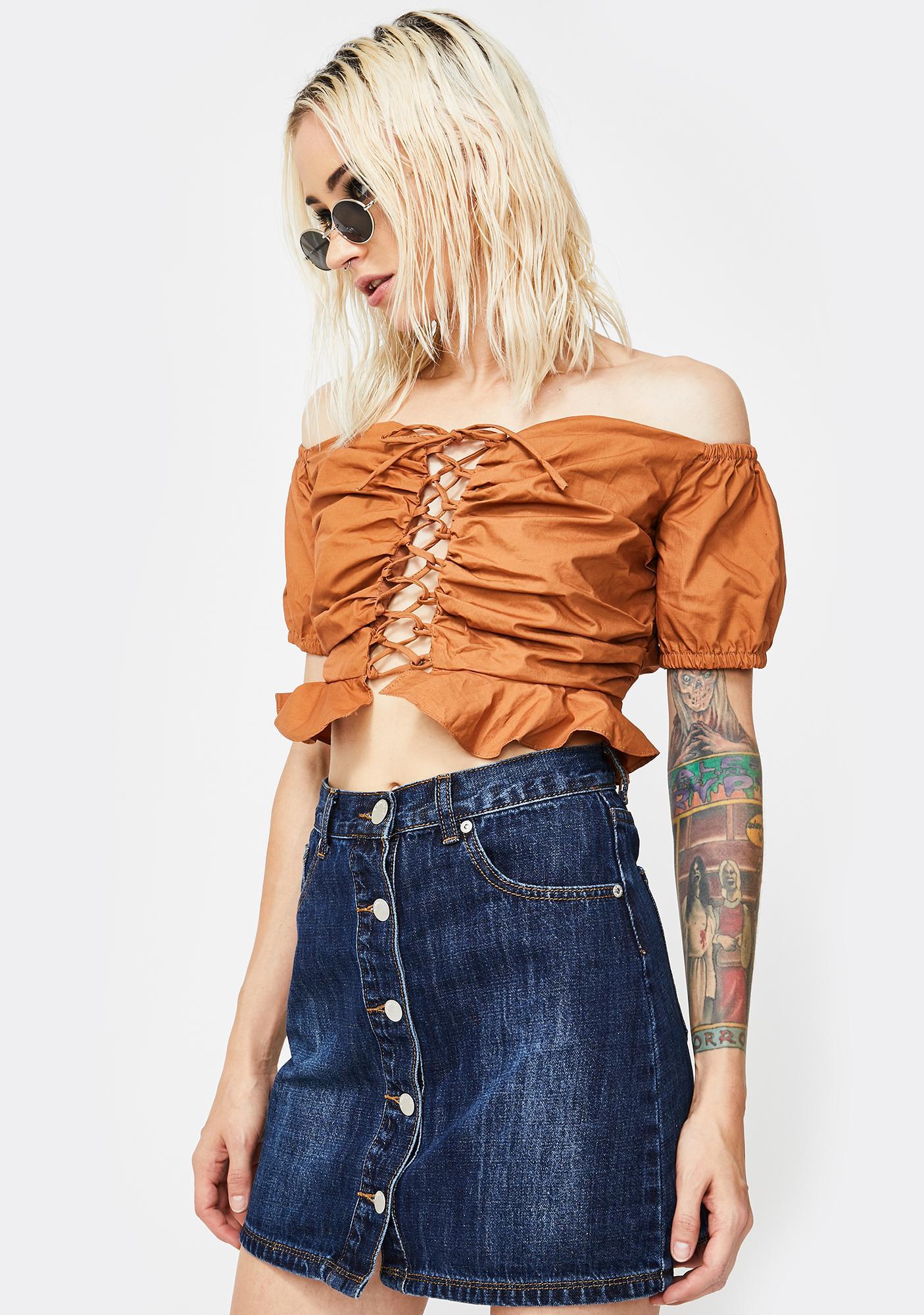 Glamorous Button Front Dark Wash Denim Skirt
