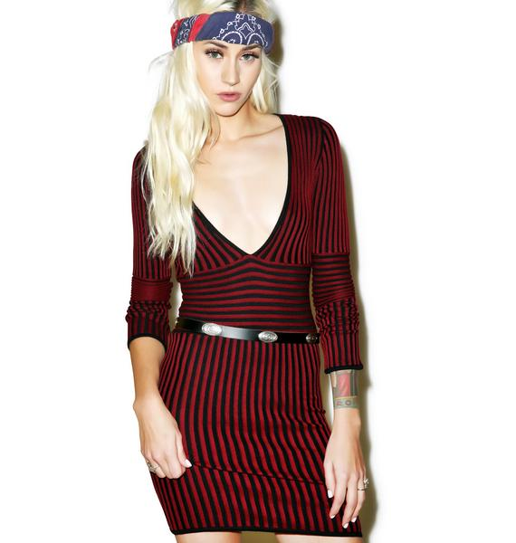 For Love & Lemons Switch Stripe Deep V-Neck Dress