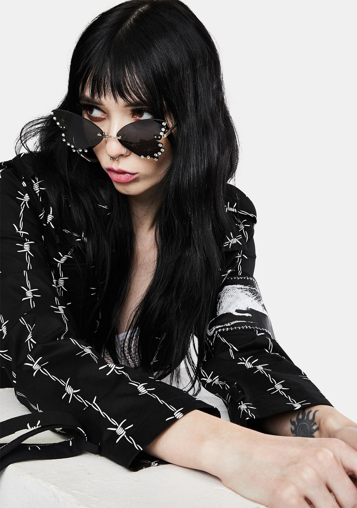 Noir Cutie Pie Rhinestone Sunglasses