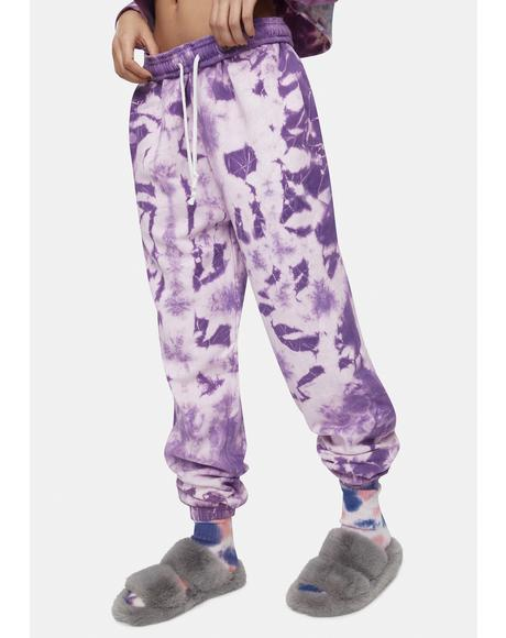 Purple Megan Tie Dye Joggers