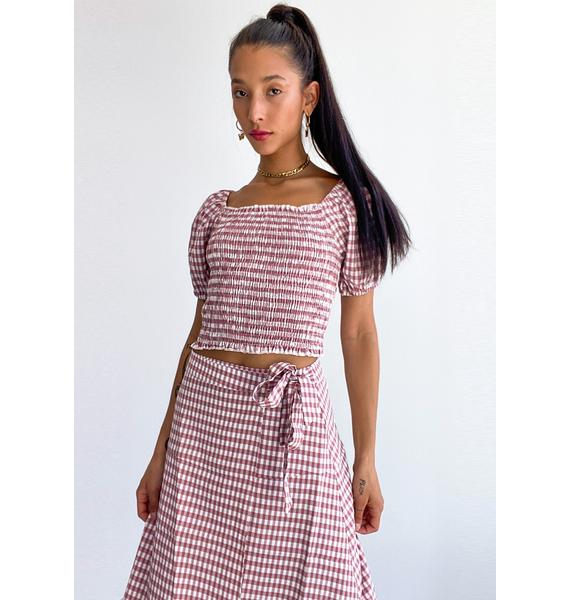 Hot Prairie Romance Gingham Top