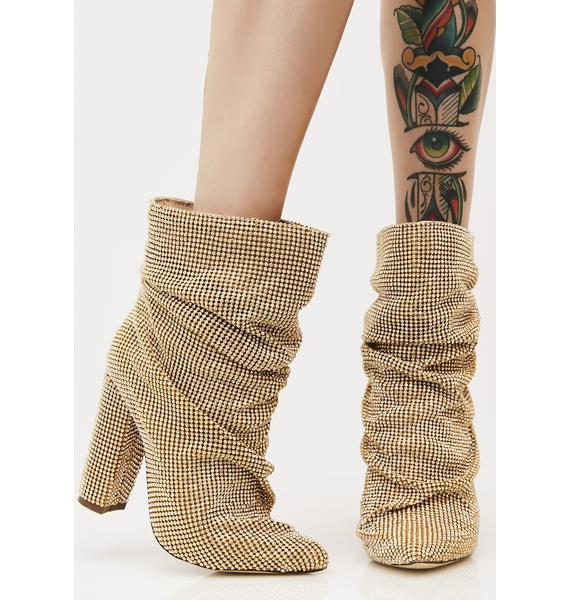Gold Go Glitter Slouch Boots