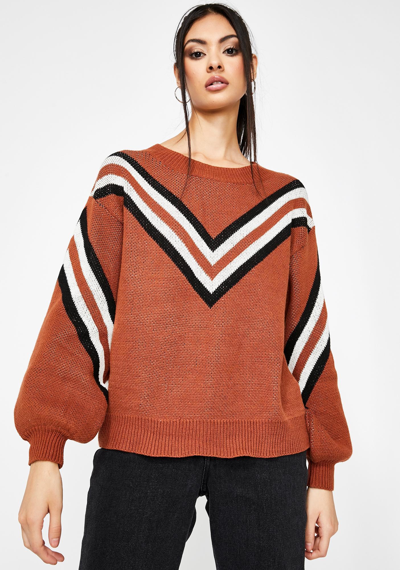 Honey Punch Warm Wishes Stripe Sweater