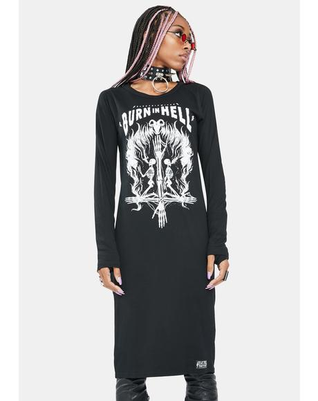 Burn In Hell Long Sleeve Dress
