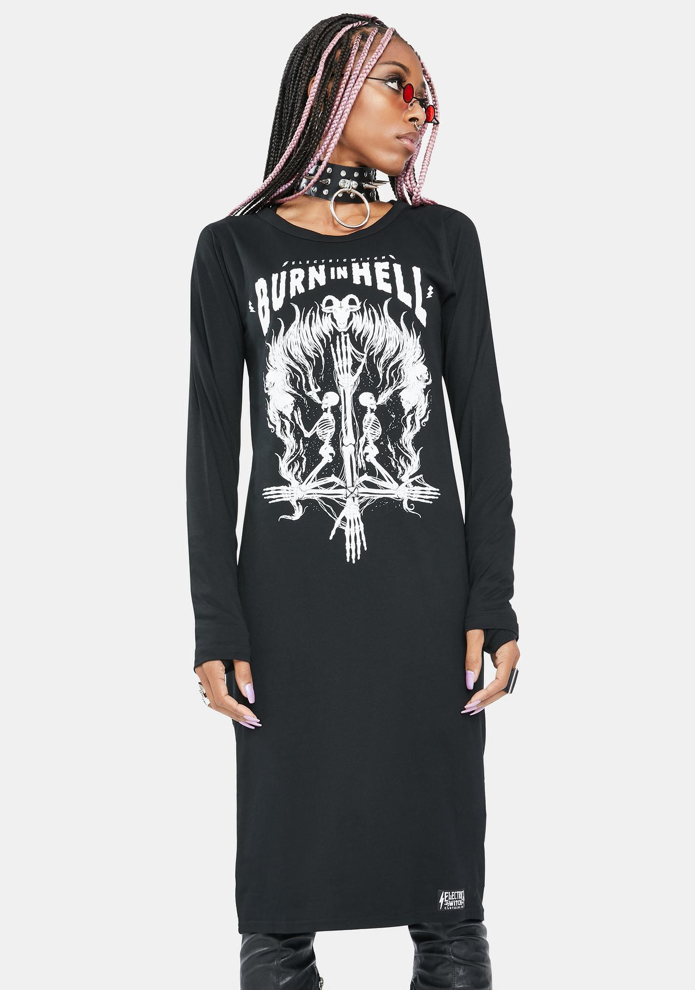Electric Witch Burn In Hell Long Sleeve Dress