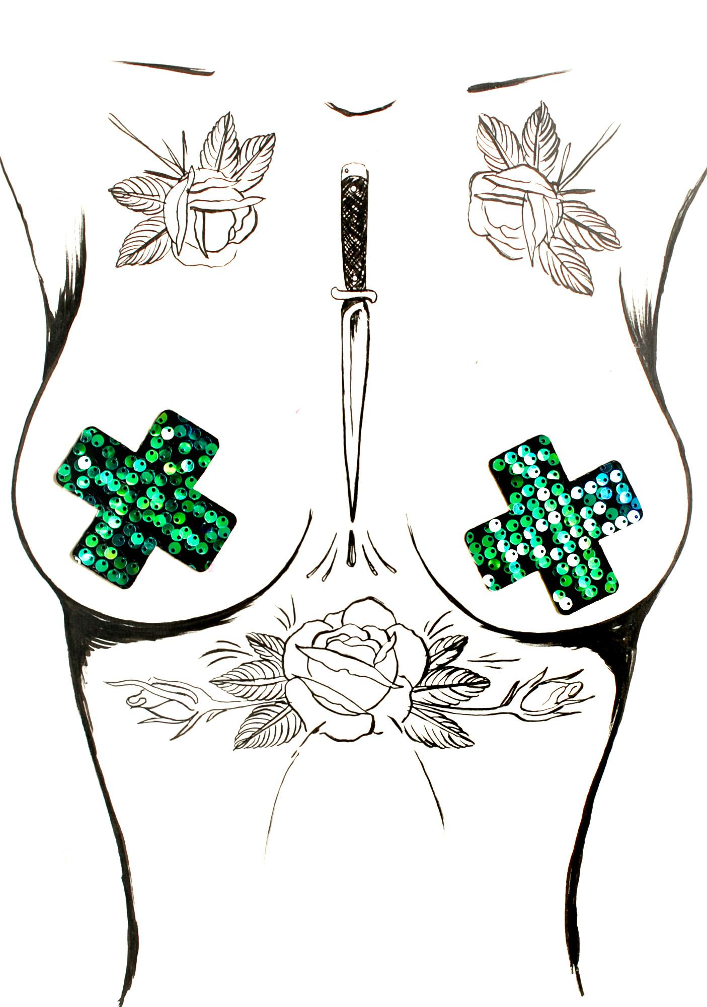 Little Black Diamond Sequin Cross Pasties