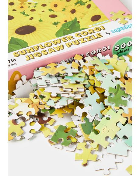 Sunflower Corgi Jigsaw Puzzle