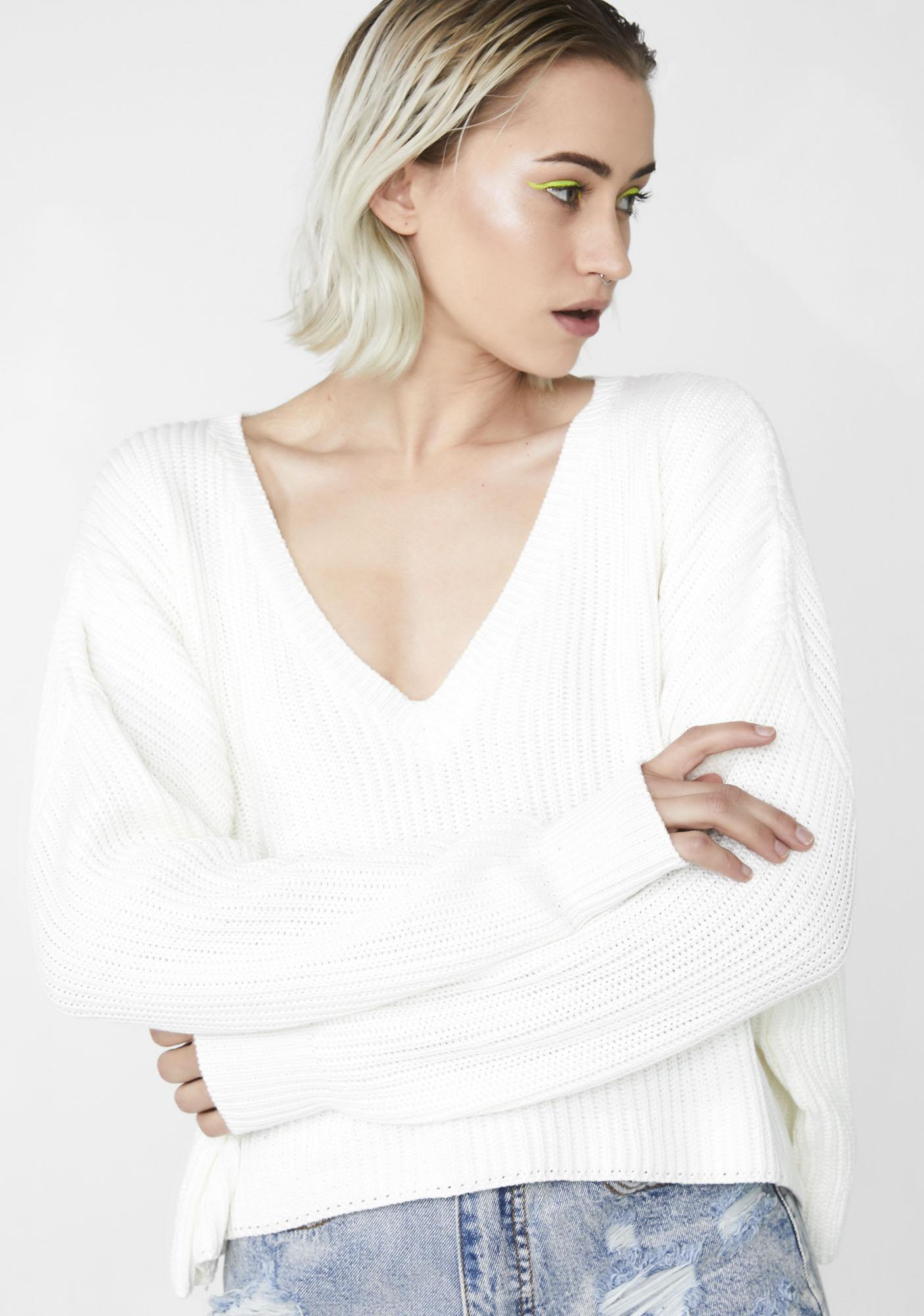 c2c546bd377406 White Ribbed Knit Sweater | Dolls Kill
