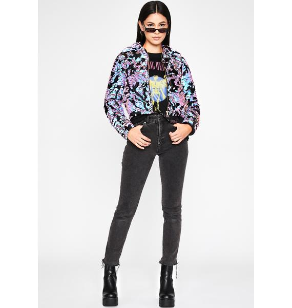 Icy Urban Glam Sequin Puffer Jacket