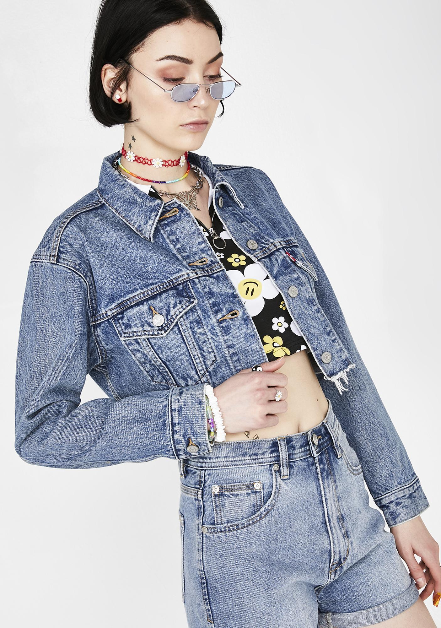 free shipping beautiful style value for money Off The Grid Cut Off Crop Trucker Jacket