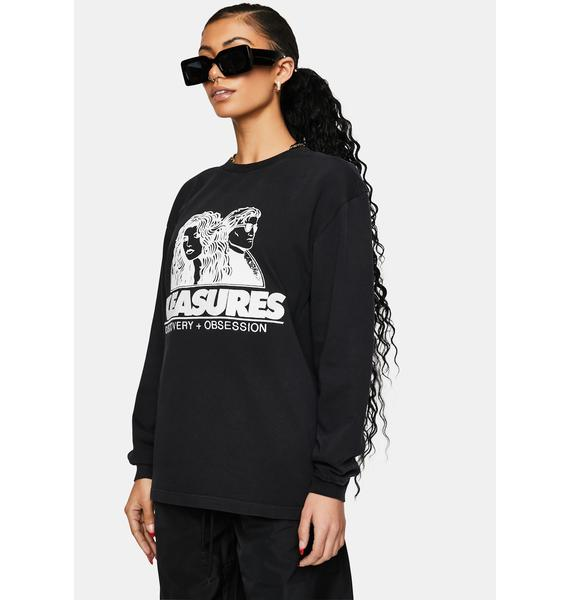 Pleasures Washed Black Discovery Graphic Tee
