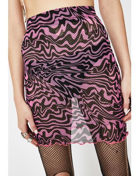 Trippy Pink Mesh Skirt
