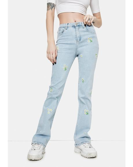 Daisy Embroidered Stonewash Jeans