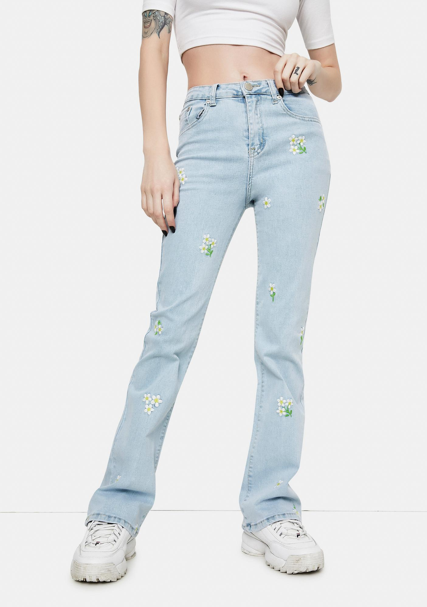 Glamorous Daisy Embroidered Stonewash Jeans