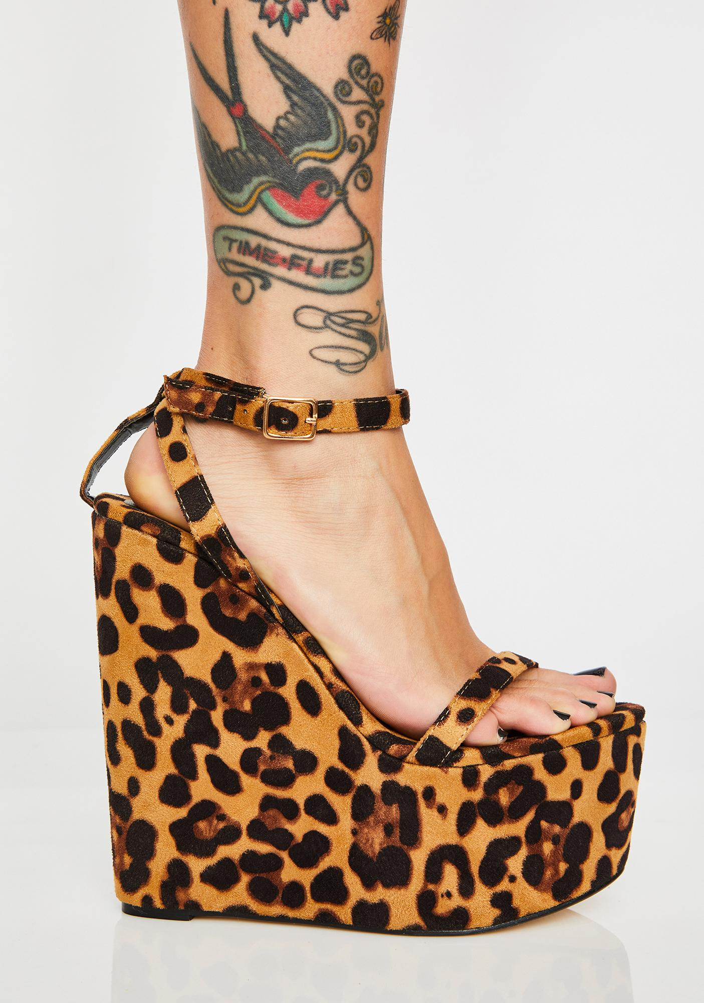 Jungle Kitty Leopard Wedges