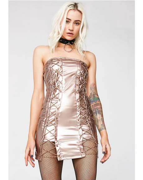 Rose Gold Come N' Get Me Vinyl Dress
