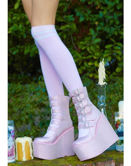 Divine Last Act Rhinestone Buckle Traitor Boots