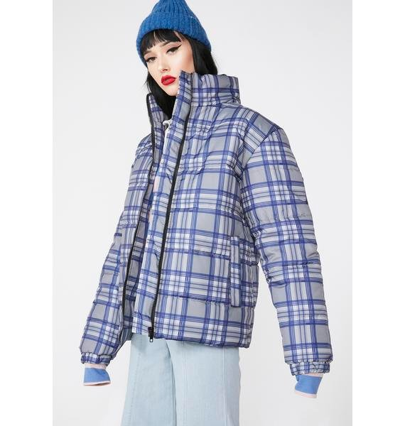 Daisy Street Plaid Puffer Jacket