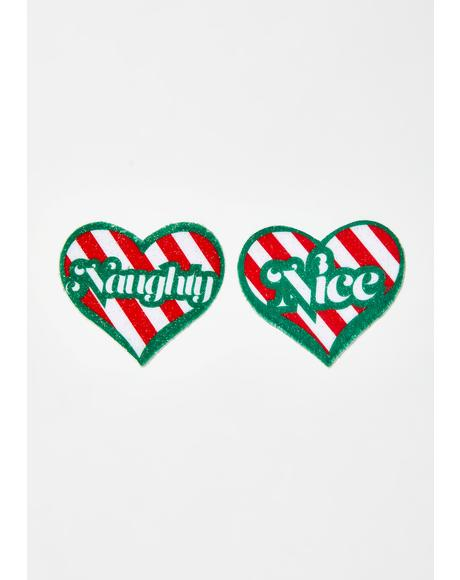 Naughty Or Nice Heart Pasties