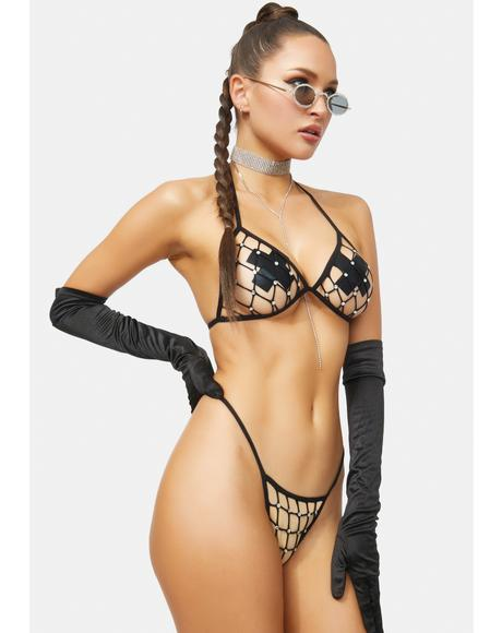 Actin Up Rhinestone Fishnet Lingerie Set