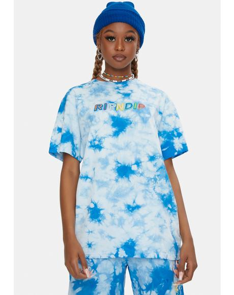 Blue Lightning Prisma Embroidered Tee