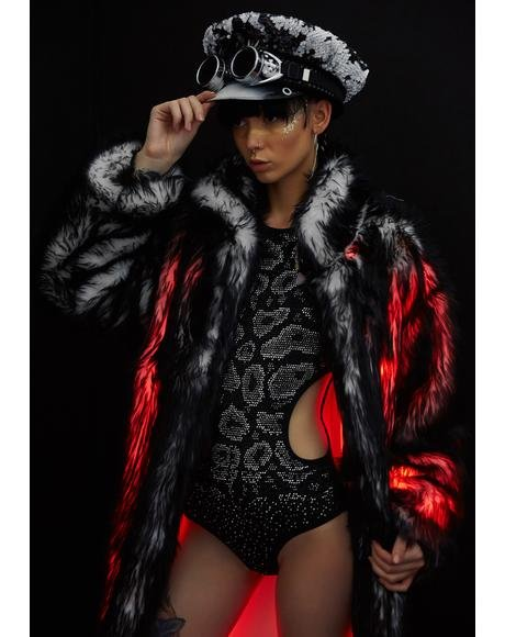 Volcanic Long Light-Up Faux Fur Coat