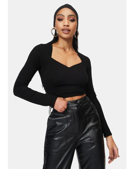 Black Ada Long Sleeve Crop Top